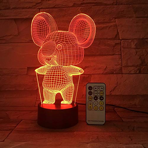BFMBCHDJ Koala Kaninchen 3D USB LED Nachtlicht 7 Farben Lampe Touch Button Fernbedienung Kind Kinder Wohnzimmer Schlafzimmer Tisch Schreibtisch Licht