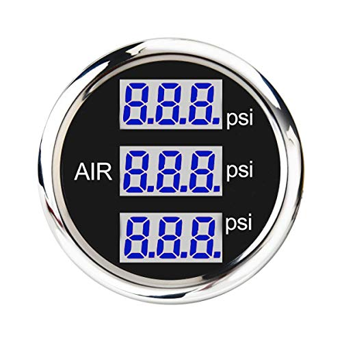 Electronic Air Suspension Pressure Gauge 2' Triple Digital Display 220 PSI Includes sensors Kits in On Dash