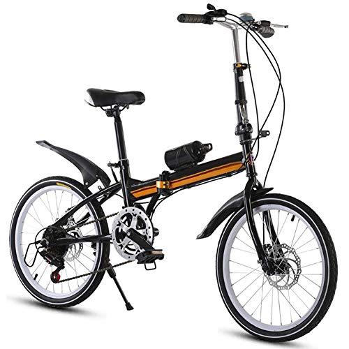 YEDENGPAO Bicicleta Plegable De Aluminio De 16 Pulgadas Bicicletas para Adultos 6 Velocidades E-Bici, 21 De Marco De Acero De Doble Velocidad Suspensión De La Bici Plegable,Negro
