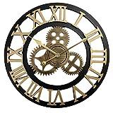Engranaje retro pared reloj de viento industrial reloj de viento hueco artistas usan la decoración de la sala de estar reloj de alta gama personalidad retro mudo creativo moda ( Color : Golden rome )