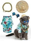 Impoosy Hawaiian Dog T Shirts Pet Summer Clothes Cat Sunglasses Funny Straw Hat...