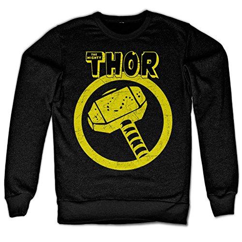 Marvel Comics Thor Distressed Hammer Sweatshirt (Noir), Large