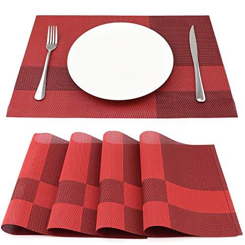 SueH Design Juego de Manteles Individuales de 4 Unidades Rojo en PVC 45 * 30 CM