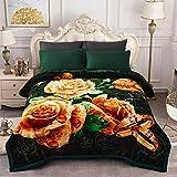 JML Heavy Fleece Blanket, Plush Velvet Korean Style Mink Blanket King Size 85'x95', Two Ply Reversible Raschel Blanket - Silky Soft Wrinkle and Fade Resistant Thick Bed Warm Blanket, Dark Green Rose