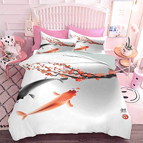 Hiiiman Quilted Comforter Set Koi Carp Fish Couple Swimming with Cherry Blossom Sakura Branch Culture Design (3pcs, Twin Size) Includes 2 Pillowcase