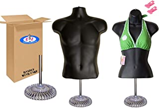 Male + Female Mannequin Torso, Dress Form Body Display, w/Economic Plastic Stand for Counter, Use for Temporal Photos or Design, Easy to Assemble and Store, S-M Sizes.