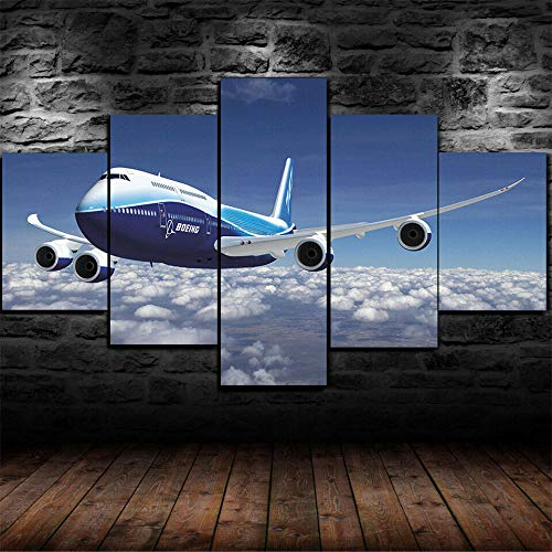 Canvas Picture -5 Piece Abstract Boeing 747 Plane Airplane Airship 150x80cm -5 Part Panels -Ready to Hang - Wall Art Print -Completely Framed - Image Printed -Art on Canvas - Art Print Images