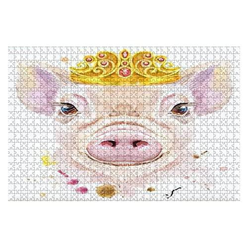 1000 piezas Cute Piggy Pig para camiseta Gráficos Acuarela Pink Mini Pig Rompecabezas de piezas grandes para adultos Juguete educativo para niños Juegos creativos Entretenimiento Rompecabezas de mader