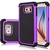 Galaxy S6 Case, Samsung S6 Cover, Jeylly Shock Absorbing Hard Plastic Outer + Rubber Silicone Inner Scratch Defender Bumper Rugged Hard Case Cover for Samsung Galaxy S6 G920 - Purple