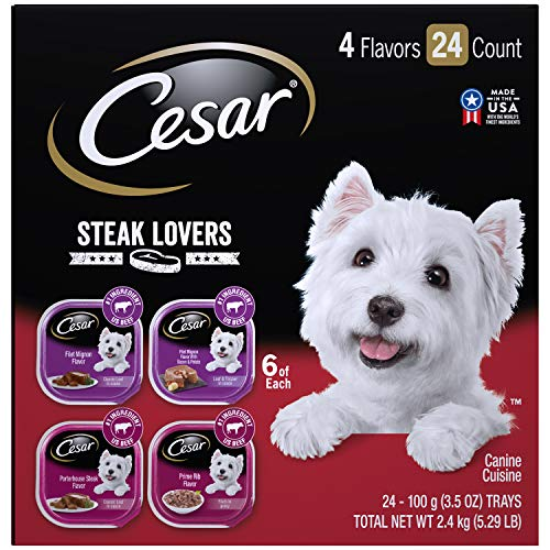 CESAR Soft Wet Dog Food Steak Lovers Variety Pack with Real Meat, (24) 3.5 oz. Easy Peel Trays