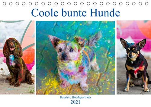 Coole bunte Hunde (Tischkalender 2021 DIN A5 quer)