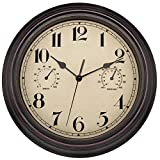 Foxtop Indoor Outdoor Waterproof Wall Clock with Thermometer and Hygrometer Combo, 12 inch Retro Silent Non-Ticking Battery Operated Quality Quartz Round Clock for Patio Home Decor (Bronze)