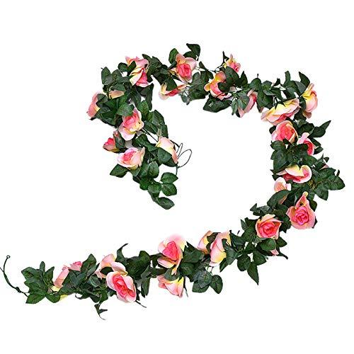CJFael Vid artificial falsa, viña de flores falsas, ecológicas, antideformaciones, 6 colores, decoración de flores de rosas para el hogar, ventana, jardín, boda, fiesta, decoración de champán