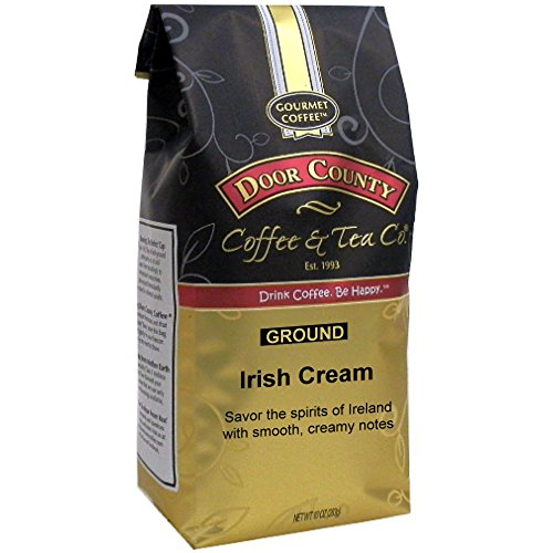 Door County Coffee, Irish Cream, Flavored Coffee, Medium Roast, Ground Coffee, 10 oz Bag