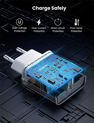 UGREEN USB C Ladegerät 20W USB C Netzteil PD 3.0 USB C Power Adapter Ladestecker kompatibel mit iPhone 12, 12 Pro,12 Pro Max,12 Mini, 11Pro, SE 2020, X, iPad Pro, AirPods Pro, Galaxy S21 A51 usw.