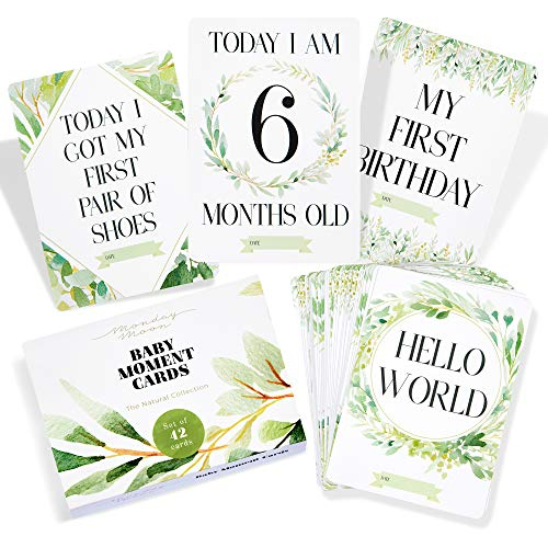 42 x Baby Photo Moment Cards with Gift Box by Monday Moon® | Baby Shower Unisex Boy Girl Photo Keepsake Memory Landmark Boho Gender Neutral