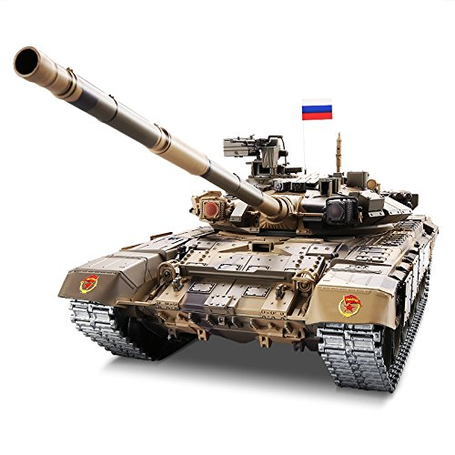 Heng Long RC Tank 1:16 Russian T90 Main Battle Tank, Remote Control 2.4Ghz RC Tanks That Shoot Airsoft BBS, Standard Edition