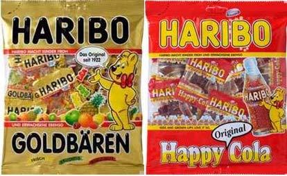 ハリボー グミ(個包装) 250g 【2袋】(ハッピーコーラ ・ゴールドベアー各1袋)