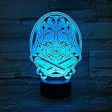 Neu angekommen Schädel Acryl Hologramm Freunde Nachtlicht 3D LED Tischlampe Kinder...