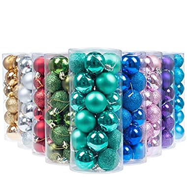"""KI Store 24ct Christmas Ball Ornaments Shatterproof Christmas Decorations Tree Balls Pastel SMALL for Holiday Wedding Party Decoration, Tree Ornaments Hooks included 1.57"""" (40mm Teal)"""