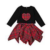 little dragon pig 3T Toddler Girl Christmas Outfit 2PCS Long Sleeve Black Tops+Fashion Red Skirt