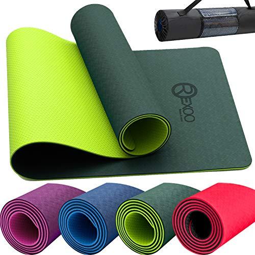 REXOO Yogamatte TPE Fitnessmatte Gymnastikmatte Pilates Sportmatte Bodenmatte Matte 183 x 61 x 0,6 cm, Grün