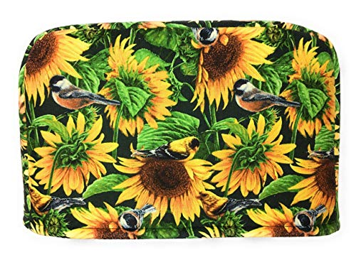 2 Slice Slot Yellow and Brown Sunflowers and Green Leaves and Birds Reversible Toaster Appliance Dust Cover Cozy 11.5(l) x 7.5(h) x 5.5(w)