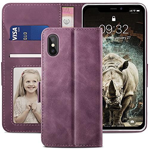 YATWIN Cover Compatibile con iPhone xs max, Flip Custodia Portafoglio in Pelle Premium Slot per iPhone xs max, Interno TPU Antiurto, Supporto Stand e Chiusura Magnetica per iPhone xs max - Vino Rosso