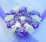 CPFYZH Décoration de Voiture de Mariage Couronne de Fleurs Fleur Artificielle Décoration de Voiture Ensemble Fleur de Soie Couronne de Perles Accessoires de Mariage-Violet