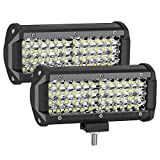 AUZKIN Led Light Bar, 7 Inches Submersible Off Road Lights Fog Light Quad Row LED Pods Spot Flood Combo Beam Driving Light 240W 24000LM Work Light for Truck Trailer Boat Pickup Car RV ATV Jeeps,2PCS