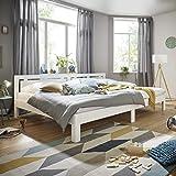 Ecolignum | Familienbett™ Altera (#350280) | 280x200 cm. | Co-Sleeping Massivholzbett Erle Vollholz | Weiß | Super-Size Bett