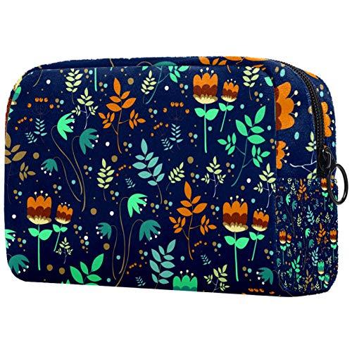 Personalised Makeup Brushes Bag Portable Toiletry Bags for Women Handbag Cosmetic Travel Organiser 花柄 ブルー きれい