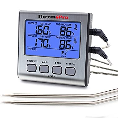 ThermoPro TP-17 TP17 Dual Probe Digital Cooking Meat Large LCD Backlight Food Grill Thermometer with Timer Mode for Smoker Kitchen Oven BBQ, Standard, Silver