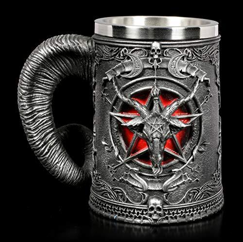 Panker Medieval Mug, Baphomet Beer Wine Mug Cups, Satanism Occult Sabbatic Goat Pentagram Beer Tankard, Realistic Pentagram Cup Mug for Beer Wine Coffee Juice Drinking Home Decor