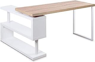 Artiss Office Computer Desk Corner Table w/Bookshelf Veneer Home Rotary 140CM Length
