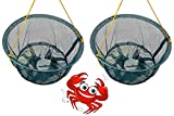Ossian Crab Drop Nets with Spring Loaded Bait Holder – Set of 2 Large 30cm Netting Trap with 11m of Rope and Plastic Bait Clip for Crabbing Catch Fish Prawn Crayfish Lobster for all ages Kids Family