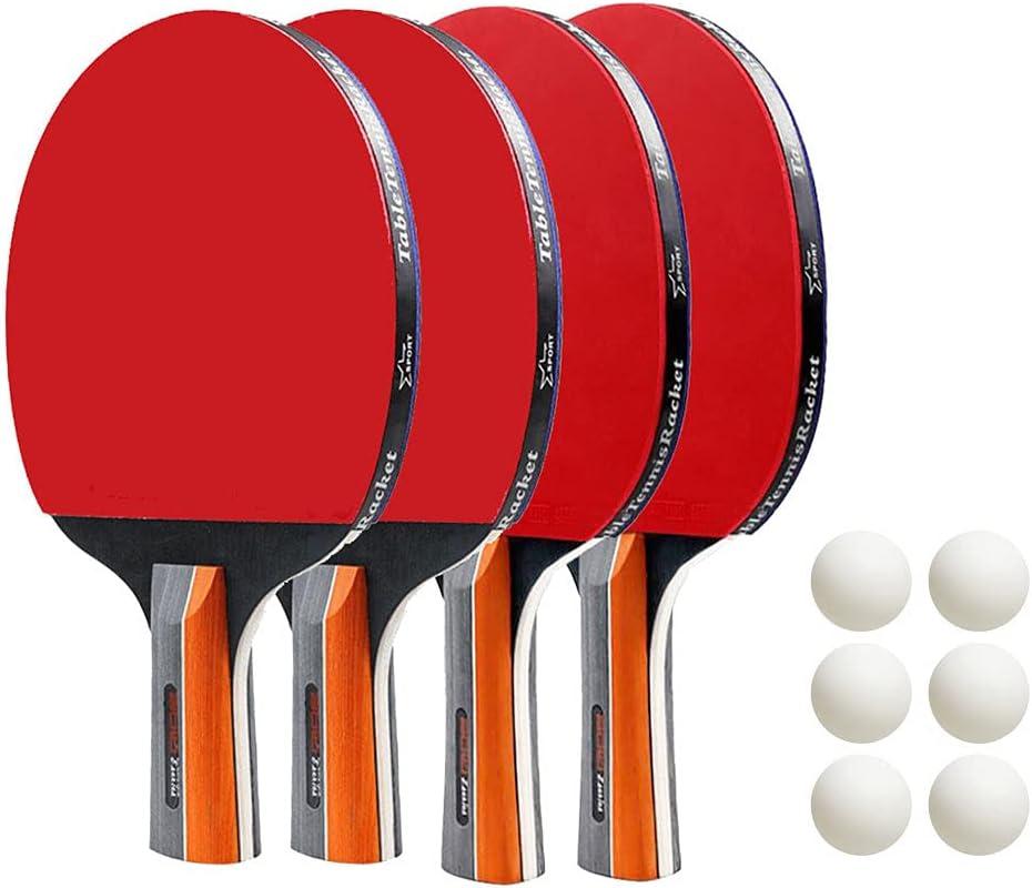 Casdl Juego de 4 raquetas de ping pong y 6 pelotas de ping-pong para principiantes (rojo y negro)