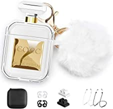 Compatible with Air pods Case,Five Star Online Perfume Bottle Earpods Case Silicone Cover 10 in 1 Accessories with Cute Fur Ball Pompom/Keychain/Ear Hook/Holder/Straps/Carrying Box for Headphone Case