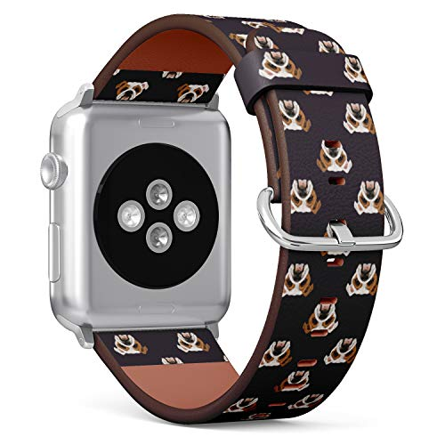 English Bulldog Pattern - Patterned Leather Wristband Strap Compatible with Apple Watch Series 4/3/2/1 42/44mm