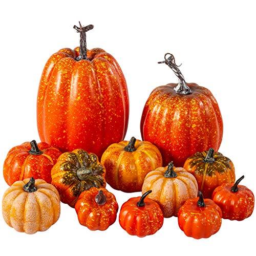 12Pcs Assorted Sizes Artificial Pumpkins Decoration Harvest Fall Orange Pumpkins Fake Foam Pumpkins for Fall Autumn Decor Thanksgiving Halloween Decorations (Orange, 12pcs)
