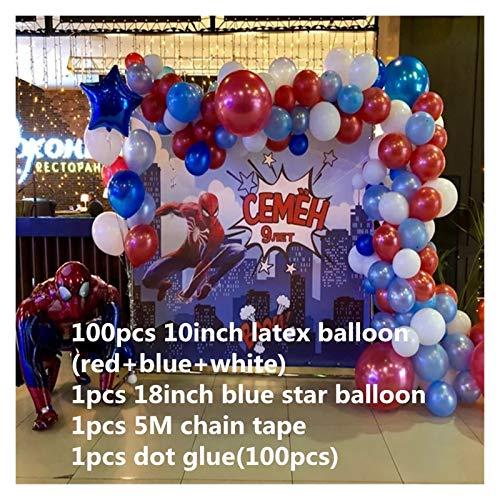 ZHEMAIDZ Ballon Rotes blaues Latex-Bogen-Kit Girlande-Ballon 3D riesige Folie-Held-Ball-Geburtstags-Party-Dekoration Jungenspielzeug 30inch Zahl Ballon décoration (Color : 103pcs)