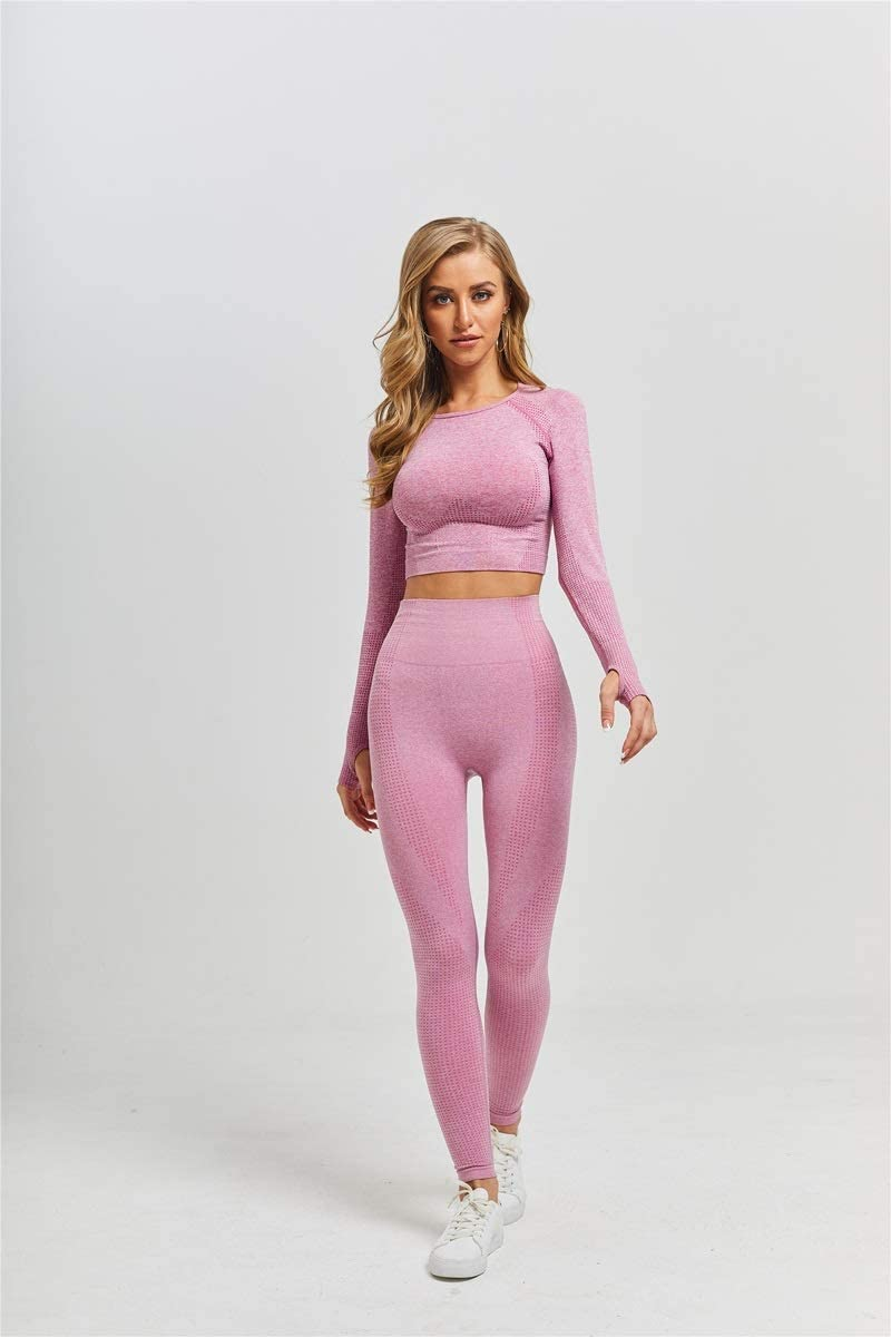 Workout Clothes Women Long Sleeve Yoga Set Top Sport Suit Sportswear Gym Fitness
