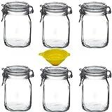 Viva Haushaltswaren - 6 x Bügelglas 1 L mit Verschluss, eckiges Drahtbügelglas zum Befüllen als...