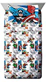 Jay Franco Comics 4 Piece Full Sheet Set-Features Captain America, Hulk, Iron Man, Spiderman, and Thor-Fade Resistant Polyester Microfiber Fill (Official Marvel Product), Good Guys Blue