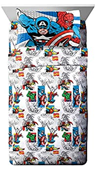 Jay Franco Comics 3 Piece Twin Sheet Set-Features Captain America Hulk Iron Man Spiderman and Thor-Fade Resistant Polyester Microfiber Fill  Official Marvel Product  Good Guys Blue