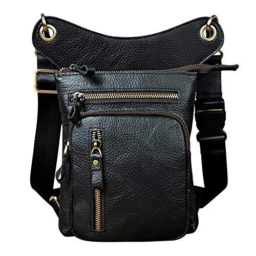 Le'aokuu Herren Echtes Leder Tasche Hüfttasche Beinbeutel Beintasche Drop Leg Thigh Bag Radfahren Klettern Messenger Bag 211-11 (211-11 Schwarz)
