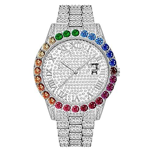 KLFJFD Calendario De Diamantes De Imitación De Color Degradado De Hip-Hop para Hombres Reloj Impermeable De Gran Dial Reloj De Regalo De Moda Casual De Moda