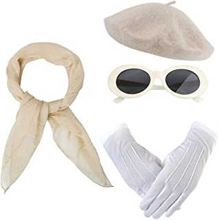 50s Women Costume Accessories French Beret Hat Retro Oval Sunglasses Sheer Chiffon Scarf Gloves