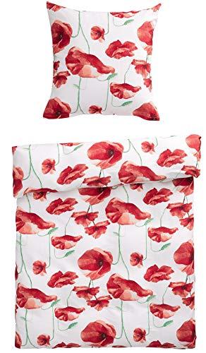 Bettwäsche Set Blumen Mohnblumen Flowers 2-teilig mit Reißverschluss 135 x 200 und 80 x 80 cm