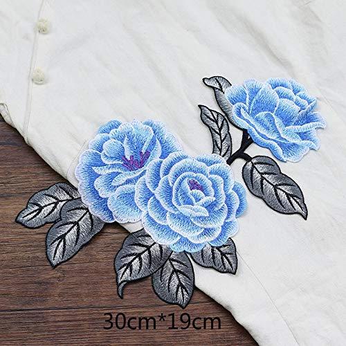 iron on patch,parches para ropa,Aplique de bordado, utilizado para decorar ropa para reparar agujeros en la ropa, rosa grande blanca y azul 1pc